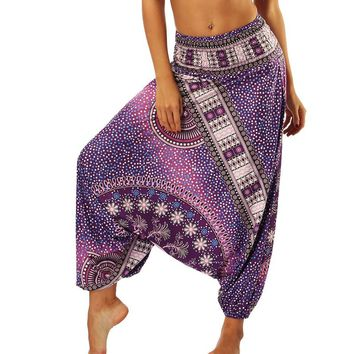 STYLEDOME National Style Printed Women Cross Pants Baggy Loose Indie Folk Femme Holiday Casual Latern Long Pants Thai Hippie Boho Trousers