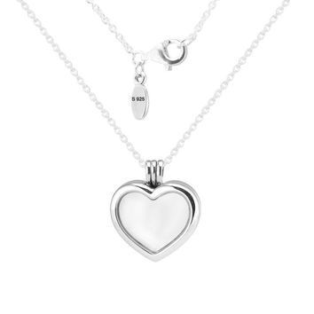 Heart Necklace 100% 925 Sterling Silver Floating Locket Necklaces Pendants for Women Fit Petite Beads DIY Fine Jewelry PFN033