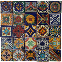 "25 Hand Painted Talavera Mexican Tiles 2""x2"""