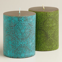 "3"" x 4"" Mosaic Pillar Candles, Set of 2 - World Market"