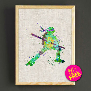 Teenage Mutant Ninja Turtles Watercolor Art Print TMNT Donatello Poster House Wear Wall Decor Gift Linen Print - Buy 2 Get 1 FREE- 120s2g