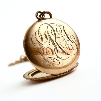 Antique Monogrammed Locket Necklace - Vintage Early 1900s Edwardian Art Deco Gold Filled Initial Pendant / Monogrammed W&H Co.