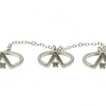Knuckle Triangle Metal Chain Crystal Stone 3 Pcs Size 4 Ring