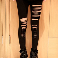 women's stylish ripped holes sexy leggings  (Size: One Size, Color: Black) = 1931601092