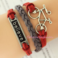 Graduation Gift, Antique Silvery ''Bicycle'' ''Believe'' Charm, Red Gray Leather Cords, Silvery Jewelry, Charm Bracelet, Personalized