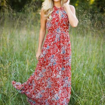 Reminds Me Of Home Brick Red Maxi Dress