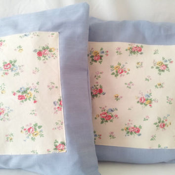 Cottage chic pillows, shabby chic cushions, pillow cover, blue pillow, blue shabby chic, shabby chic pillows, euro sham, europeanstreetteam