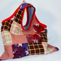 Reusable Shopping Tote Hippie Patchwork Fabric | catfluff - Bags & Purses on ArtFire
