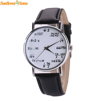 Newly Design Math Caculation Printed Students Big Dial Quartz Wrist Watch Gift 160511