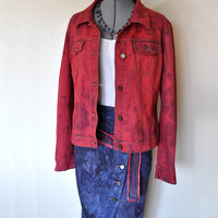 "Red Dyed Denim JACKET - Scarlet Red Hand Dyed Upcycled New York & Company Denim Jacket - Womens Size 14 Extra Large  (46"" chest)"