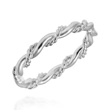 Handmade Intricate Braid Stackable Band .925 Sterling Silver Ring (Thailand) | Overstock.com Shopping - The Best Deals on Sterling Silver Rings