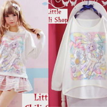 Girls Kawaii Cute Colorful lolita cartoon fantasy Lady GAGA barbie Shirt Tshirt