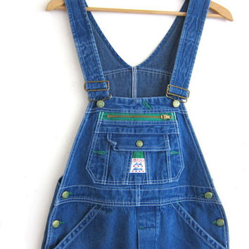 Vintage Lady LIBERTY Dark Wash Blue Denim Jean Bib Overalls .. Carpenter Pants Size 8 tall