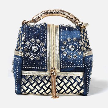 Denim & Diamonds Bucket Bag
