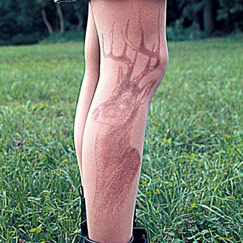 Deer - Tattoo Tights - Free Shipping - Made to order :)