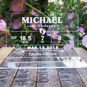 Custom Personalized Baby Birth Announcement Plaque with Base Name Date Weight