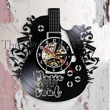 Muisc Is The Voice In The Soul Musical Quote Wall Clock Guitar Vinyl Record Wall Clock Music Meditations Decorative Clock Watch