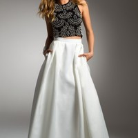 Two-Piece Dress with Beaded Top