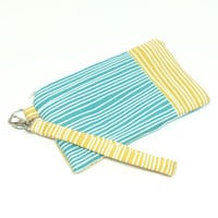 Yellow Teal Clutch, Wristlet Clutch, Zipper Clutch Purse, Cell Phone Wallet, iPhone Wristlet, Phone Wallet, Cell Phone Wristlet, Clutch Bag