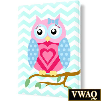 Nursery Owl Print Stretched Canvas Room Decor Pink & Blue Wall Art VWAQ-O24