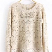Round Neck Long Sleeve Begie Sweater - Designer Shoes|Bqueenshoes.com