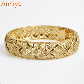 Anniyo 6cm/2.36 inch Ethiopian Bangle for Women Gold Color Dubai Wedding Gift Bracelet African Arab Bonzer Jewelry New #072906