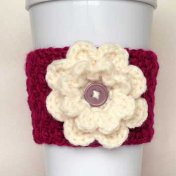 Crochet Flower Cup Cozy Berry and Cream
