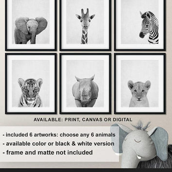 Monochrome Nursery print set Safari, African baby animals Baby room decor, Zoo animal nursery, Jungle Baby animals, Animal art Print/Canvas