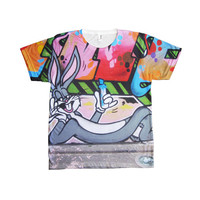 Street Art Graffiti Bugs Bunny By Looney Tunes All Over Print T-Shirt Tee 100% Polyester American Apparel Size XS S M L XL