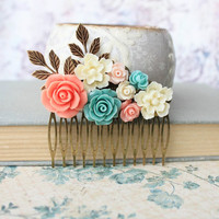Flower Hair Comb Floral Hair Accessories Spring Bridal Flowers for Hair Leaf Rustic Branch Wedding Accessories Teal Blue Rose Coral Cream