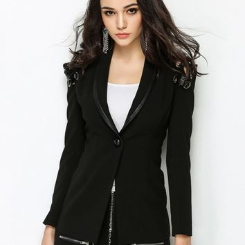 Black Lapel Lace Up Detail Long Sleeve Blazer
