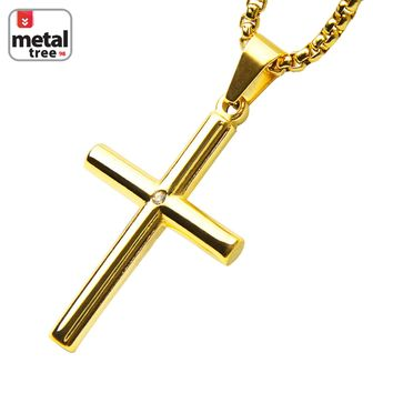 "Jewelry Kay style 14k Gold Plated Stainless Steel Cross CZ Pendant 24"" Chain Necklace SCP 159 G"