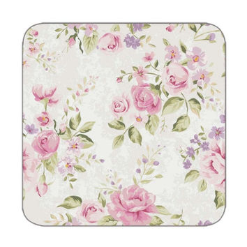 Coaster set of 4 in flower pattern in pink color for Table coasters Custom drink coasters