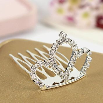 Hot Sale New 2016 Fashion Children Baby Jewelry Headdress Girls Princess Rhinestone Tiaras Crown Hair Comb Headband