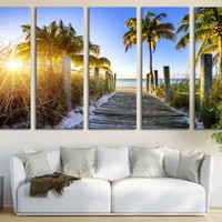 Miami Canvas Print Palm Beach Large Wall Art 5 Panel Wall Hanging Sky View Canvas Art Living Room & Home Decor / Interior Design, Room Decor