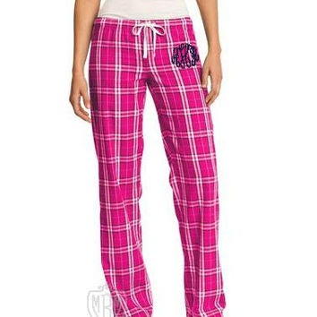 Monogrammed Plus Size Lounge Pants - Flannel Lounge Wear - Plus Spirit Wear - Plaid Pants - Personalized Plus Size Lounge Pants - XL to 4XL