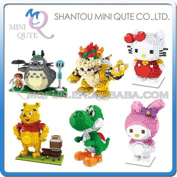 Mini Qute ZMS Anime cartoon kawaii Totoro bear hello kitty yoshi girls gift building blocks action figure model educational toy