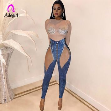 Denim Color Women Jumpsuit Ladies Long Sleeve Mesh Rompers Female Casual Plus Size Nightclub Faux  Denim Overall Playsuit 2019