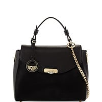 Small Top Handle Leather Satchel Bag, Black - Versace