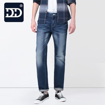 Sep.30th App 60% OFF  New Slim Fit Casual Pants Deep Blue Jeans Men Stretch Chinese Famous Brand  Men Pants Best Jeans For Men