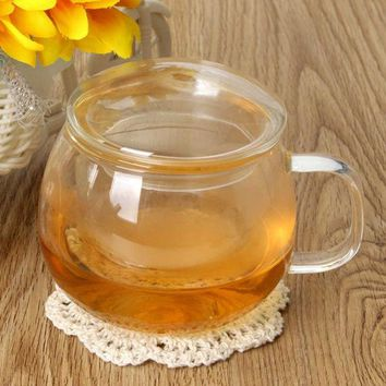 ICIKJG2 New Arrival 300ml Handmade Cute Coffee Cups Glass Tea Cup with Filter Inside Flower Blooming Loose Tea Glass Infuser Teacup
