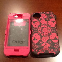 iPhone 4 4S OtterBox Defender case-EUC Studio Eternality Perennial -Pink