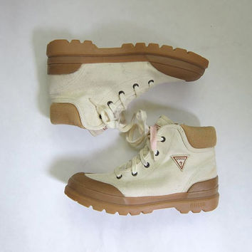 Vintage 80s GUESS boots. off white canvas lace up ankle boots