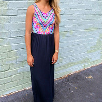 Honolulu Multi Color Feather Print Navy Maxi Dress