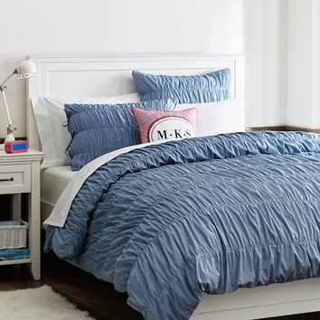 Chambray Ruched Duvet Cover + Sham