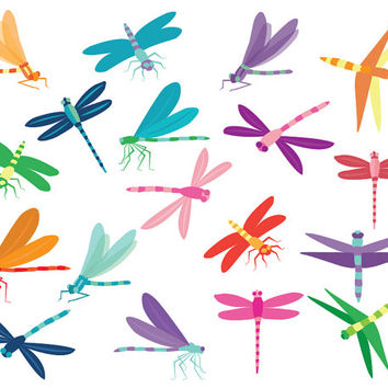 Dragonfly Clip Art Images, colorful dragonflies for scrapbooking, card making, graphic design, crafts, birthdays, gift tag, digital clipart