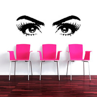 Makeup Wall Decal Vinyl Sticker Decals Art Home Decor Design Mural Make up Girl Woman Fashion Cosmetic Hairdressing Hair Beauty Salon AN548