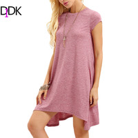 DIDK Woman Summer Plain Basic Dresses Ladies Round Neck Short Sleeve Asymmetrical Hem Casual Cotton Shift T-shirt Dress