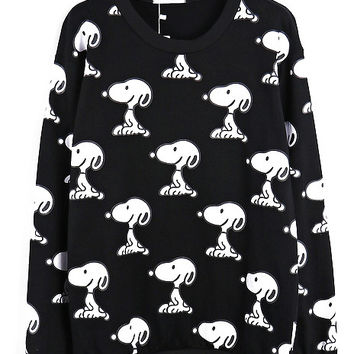 Black Snoopy Print Long Sleeve Sweatshirt