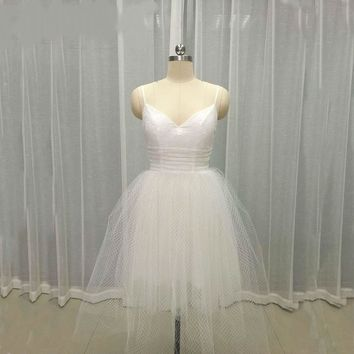 White Dress Lace Short Wedding Dresses Backless Lace Tulle Bottom Bridal Gowns